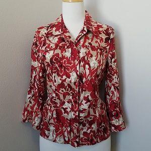 Coldwater Creek Linen Floral Shirt